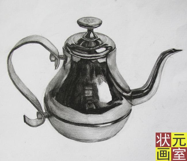 茶壶素描画步骤